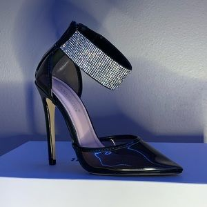 Black Rhinestoned Heels